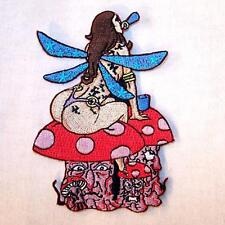 FAIRY ON TOP  MUSHROOM EMBROIDERED PATCH P349  Iron on biker JACKET patches NEW