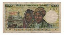 COMOROS COMORES 5000 FRANCS 1984 PICK 12 A LOOK SCANS