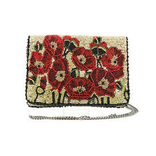 Mary Frances Poppies Red Mini Pouch Purse Handbag Beaded Bag New
