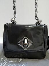 New Seven For All Mankind $295rt Deep Gray Patent Leather Chain Crossbody Bag