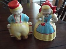 STANFORD POTTERY SEBRING OHIO DUTCH BOY AND GIRL PLANTERS EXCELLENT!!