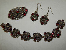VINTAGE ART DECO FILIGREE CZECH GLASS BRACELET BROOCH & DROPPER EARRINGS SET
