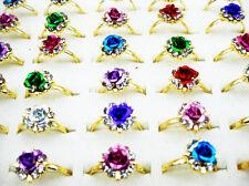 Wholesale Bulk 30Pcs World Fashion Flower Rose CZ Rhinestone Gold T Ring FREE