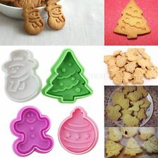 4Pcs Christmas Cookie Biscuit Cutters Set Bread Fondant Cake Mold Baking Tool