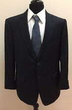 $3,954 Ermenegildo ZEGNA Men's Navy Blue Striped Wool Suit Size 42R 35x31