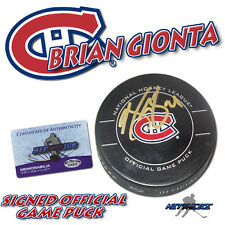 BRIAN GIONTA Signed MONTREAL CANADIENS Official Game Puck - w/COA