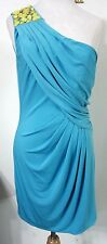 MAX and CLEO 10 Dress Turquoise 1-Shoulder Greek Goddess Evening Cocktail NWT