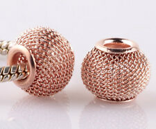 10pcs Rose Gold hollow big hole spacer beads fit Charm European Bracelet ZZ943