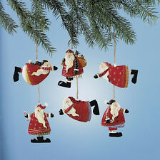 Lot of 12 WHIMSY FESTIVE SANTA CLAUSE Rustic Painted TIN Christmas Ornaments