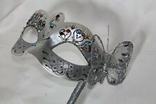 SILVER JEWELLED & BUTTERFLY VENETIAN MASQUERADE PARTY MASKS LADIES MASK ON STICK