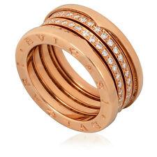 Bvlgari B.Zero1 18K Pink Gold 4-Band Diamond Pave Ring Size 7.25