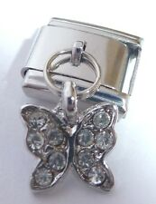 BUTTERFLY CLEAR GEMS Italian Charm - 9mm fits Classic Starter Bracelets Crystals