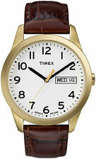 Timex T2N065, Men's Easy Reader Brown Leather Watch, Indiglo, T2N0659J