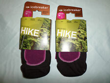 2 X LADIES ICEBREAKER 60% MERINO WOOL HIKING WALKING LITE WEIGHT SOCKS MEDIUM
