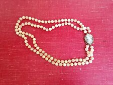 Vintage double strand Mother of Pearl and Abalone Cameo Necklace/brooch