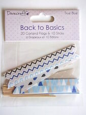 Dovecraft Back to Basics True Blue 20 Garland Flags and 10 sticks