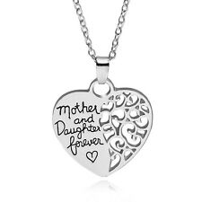 Mother and Daughter Forever Love Heart Pendant Necklace Pretty Mom Birthday Gift