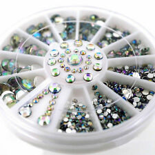 6 Size 300pc Nail Art 3D Glitter Rhinestone Decoration DIAMANTE CRYSTAL Gem UK
