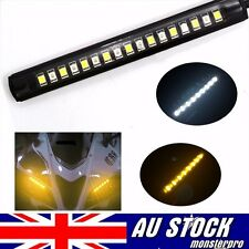 1x Strip Light Tail Turn Signal Indicator 17 LED White + Amber For Cars Motorcyc