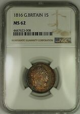 1816 Great Britain George III Silver Shilling 1S Coin NGC MS-62 Nicely Toned