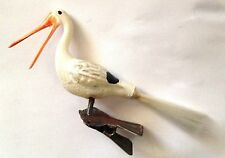 Antique VTG Stork on Clip Spun Glass Tail German Feather Tree Christmas Ornament