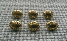6 x Gold Tone Oval Metal Look Buttons 13mm Vintage Goth Steampunk Style