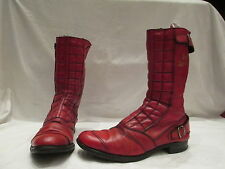 GENTS RARE VINTAGE LEWIS LEATHERS RED LEATHER BIKER ZIP UP BOOTS UK 10 (742)