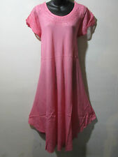 Dress Fits 1X 2X 3X 4X Plus Long Tunic Pink Embroidery Cotton Sundress NWT 900