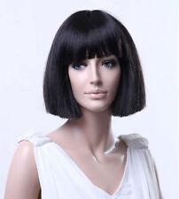 Ladies Wig Short Blunt Cut Dark Brown Fashion Wig Cleopatra Bob Style Full Wig