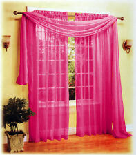 """New Beautiful Sexy Sheer Voile Window Scarf Hot Pink 37"""" x 216"""""""