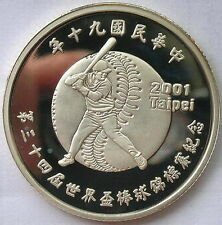 Taiwan 2001 Baseball Cup 50 Yuan Silver Coin,Proof