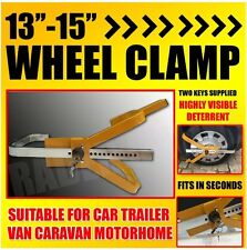 "Heavy Duty 13"" - 15"" Steel Car Van Wheel Clamp Safety Lock Caravan Trailer 2 Key"