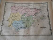 Carte Map couleur de l'Espagne Ancienne 1877