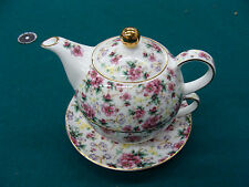 English Tea Store Pink Floral Porcelain Stackable English Tea for One SHIPS FREE