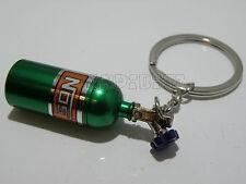 Nos óxido nitroso Mini Botella Coche Tuerca KEYRING Idea de Regalo Verde Tapa Superior Tornillo de la píldora