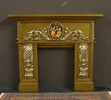 CARVED  FIREPLACE ~ for  Barbie ~  2 Golds ~ 1:6 scale ~ Pictoral ~ DIORAMA