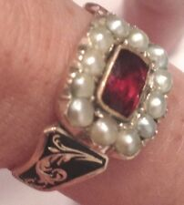 Georgian 15ct Gold Black Enamel, Garnet + Split Seed-Pearl Gemstone Ring