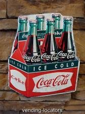 COCA COLA Metal 6 Pack Soda Fountain COKE Bottles Vintage Style Amber Glass