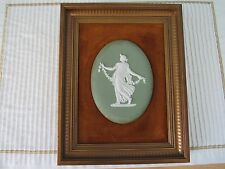 "oval Wedgwood solid green jasperware framed 5 1/4"" plaque beautiful frame"
