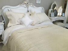 King Size finemente cucita Trapuntato Copriletto 100% cotone color panna/ecru Patchwork