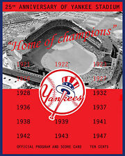 Yankee Stadium 25th Anniversary Poster of Game Program from 1948, 8x10 Photo