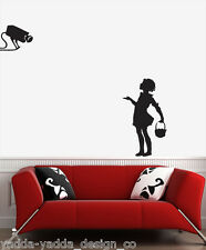 "WALL - Banksy - Camera Girl - Wall Vinyl Decal (20""w x 30""h) (BLACK)"