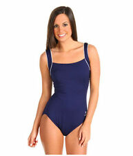 TYR FIT SOLID SQUARE NECK TANK SUIT ONE PIECE SWIMSUIT NAVY BLUE SZ18 NEW! $69