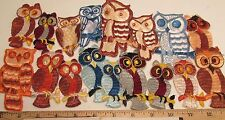Patches Owls Appliques Embroidered 17 piece Lot US Made Vintage Owl NOS  New