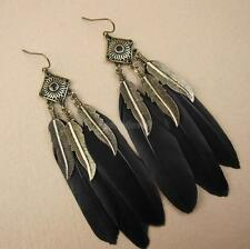 Retro Bohemian Leaf Charm Rhombus Drop Long Feather Dangle Earrings Black
