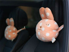 2pcs Cute Rabbit Headrest Pillow Cotton Car Seat Head Neck Rest Cushion