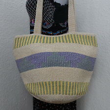 Stone Mountain Woven Pastel Basket Shoulder Bag Purse Tote