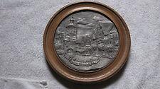 Günzburg Zinn Relief Bild auf Holz Tor Marktplatz Wandteller Handarbeit