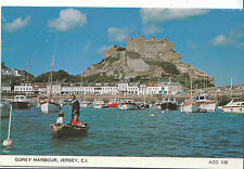 Channel Islands Postcard - Gory Harbour and Mont Orgueil Castle - Jersey  AB1769