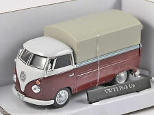 VOLKSWAGEN T1 Covered Pickup in Dark Red / White 1/43 scale model by Cararama